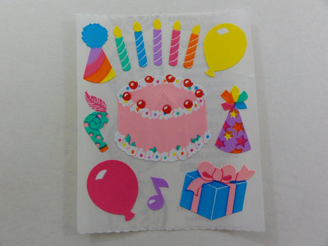 Sandylion Birthday Cake Balloon Presents Sticker Sheet / Module - Vintage & Collectible