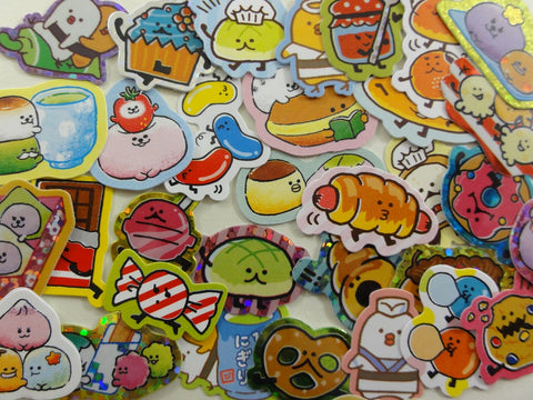 Cute Kawaii Sushi Mochi Pretzel Bread Muffin Jelly Beans Snacks Food theme Flake Stickers - 40 pcs