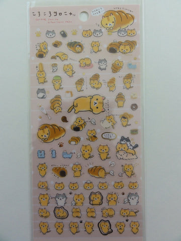 Cute Kawaii San-X Coro Nyanko Warm Bread and Cat Sticker Sheet - B