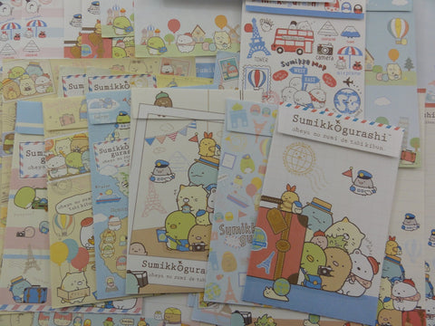 Kawaii Cute San-X Sumikko Gurashi World Traveler Letter Writing Paper + Envelope Theme Stationery Set