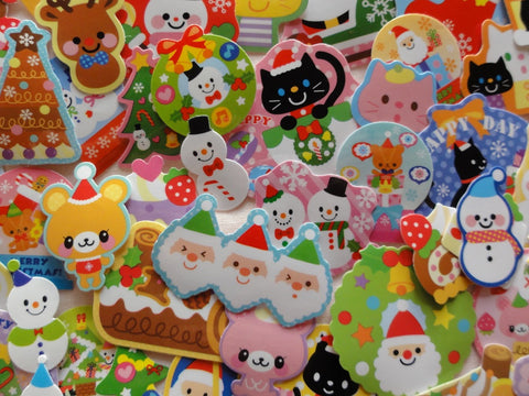 Christmas Winter Santa Ginger Bread Flake Stickers - 80 pcs