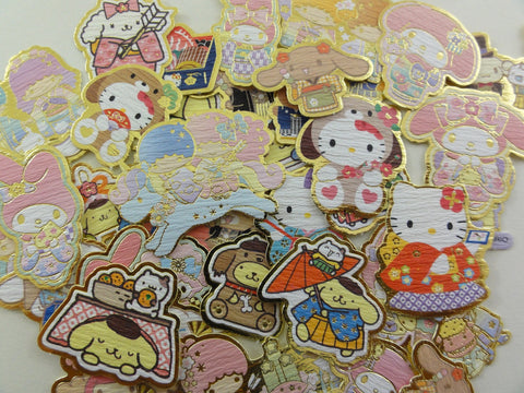 Cute Kawaii Sanrio Characters Hello Kitty My Melody Purin Little Twin Stars Cinnamoroll Flake Sack Stickers - 50 pcs - B