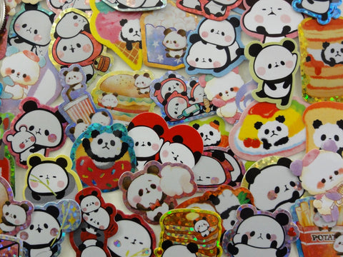 Cute Kawaii Panda Flake Stickers - 42 pcs