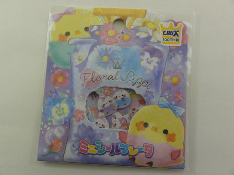 Cute Kawaii Crux Floral Pippi Bird Flake Stickers Sack