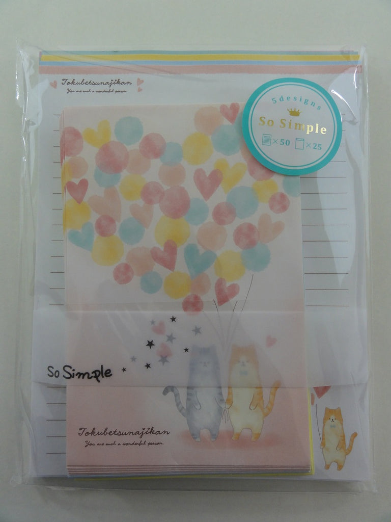 Cute Kawaii Crux Cat Bear Hearts Love Letter Set Pack