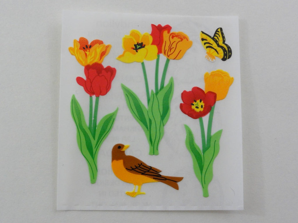 Sandylion Tulip Flower Bird and Butterfly Sticker Sheet / Module - Vintage & Collectible
