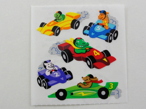 Sandylion Animal in Race Car Sticker Sheet / Module - Vintage & Collectible