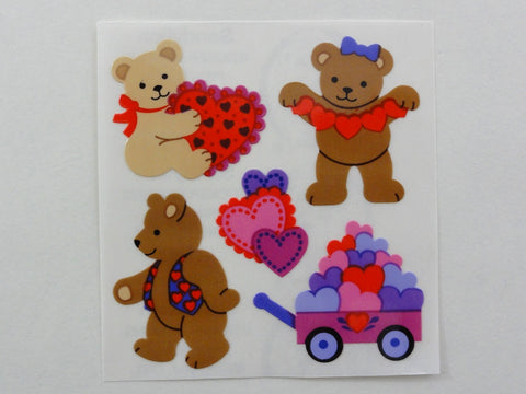 Sandylion Bear and Hearts Sticker Sheet / Module - Vintage & Collectible