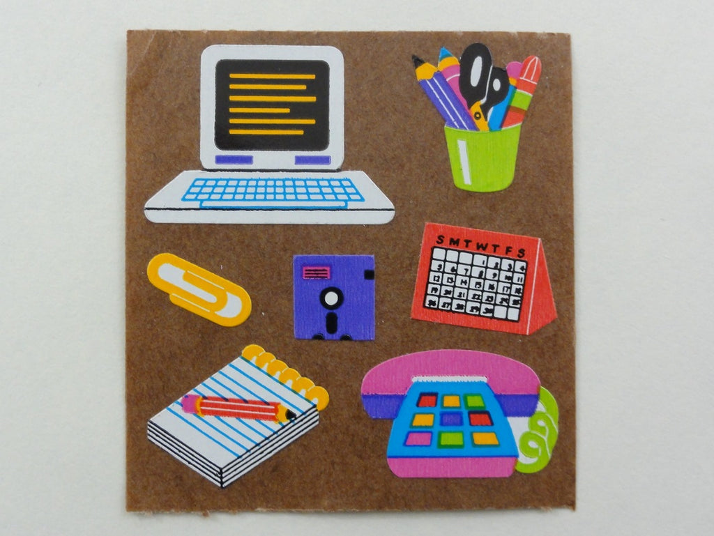 Sandylion Vintage Computer Office Sticker Sheet / Module - Brown Backing - Vintage & Collectible