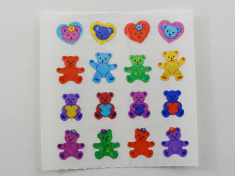Sandylion Bear and Heart Glitter Sticker Sheet / Module - Vintage & Collectible