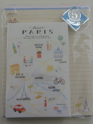 Cute Kawaii Stationery Kamio Travel Paris NY Roma Japan Letter Set Pack