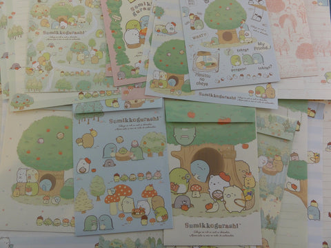 Kawaii Cute San-X Sumikko Gurashi Apple Green Tree Garden Letter Writing Paper + Envelope Theme Stationery Set