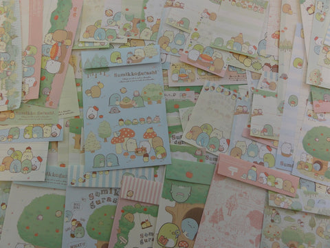 San-X Sumikko Gurashi Apple Garden Green Stationery Set - Penpal Writing Paper Envelope