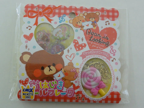 Cute Kawaii Crux Bear is Looking Button Flake Sticker Sack