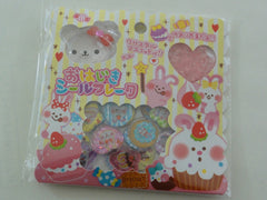 z Cute Kawaii Crux Rabbit Cupcake Button Flake Sticker Sack - for Decorate Journal Planner Craft