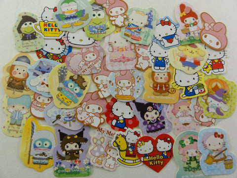 Cute Kawaii Sanrio Hello Kitty My Melody Little Twin Stars Keroppi Pekkle Friends Flake Sack Stickers - 40 pcs - for Journal Planner Craft Art