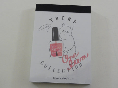 Kawaii Cute Crux Nail Polish Cat Trend Collection Mini Notepad / Memo Pad