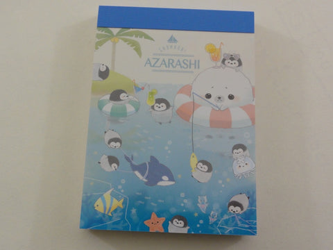 Kawaii Cute Crux Shombori Azarashi Seal Penguin Friends Mini Notepad / Memo Pad - A