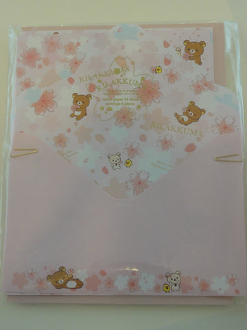 Cute Kawaii San-X Rilakkuma Sakura Cherry Blossom Letter Set Pack  - Stationery Writing Paper Envelope