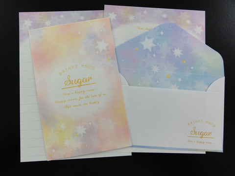 Cute Kawaii Kamio Starry Bright Mini Letter Sets - Small Writing Note Envelope Set Stationery