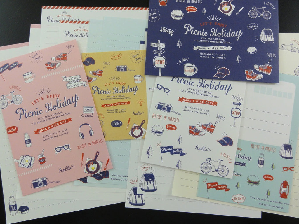 Cute Kawaii Crux Picnic Holiday Letter Sets - Stationery Writing Paper Envelope Penpal