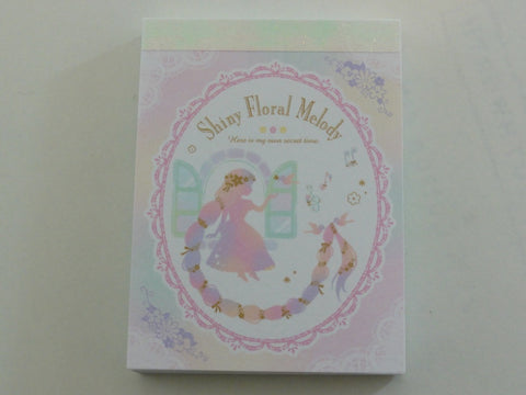 Cute Kawaii Q-lia Shiny Floral Melody Princess Fairy Tale Mini Notepad / Memo Pad - Stationery Design Writing Collection
