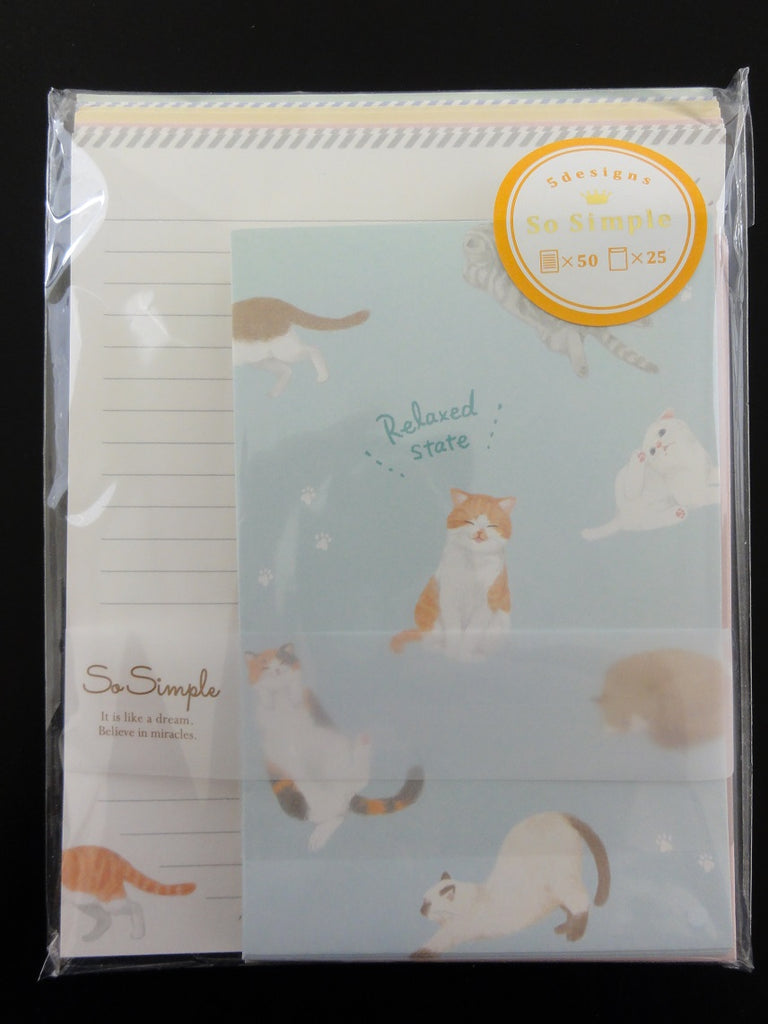 Cute Kawaii Crux Cat Relax Letter Set Pack - Stationery Writing Paper Penpal