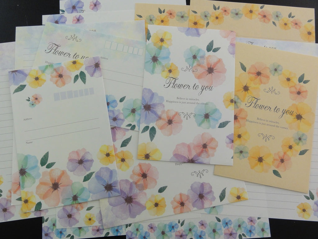 Cute Kawaii Crux Flower to You Spring Letter Sets - Stationery Writing Paper Envelope Penpal