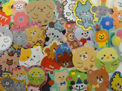 Cute Kawaii Variety Pet and Zoo Animals theme Flake Stickers - 40 pcs