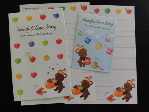 Cute Kawaii Crux Heartful Story Bear Mini Letter Sets - Small Writing Note Envelope Set Stationery