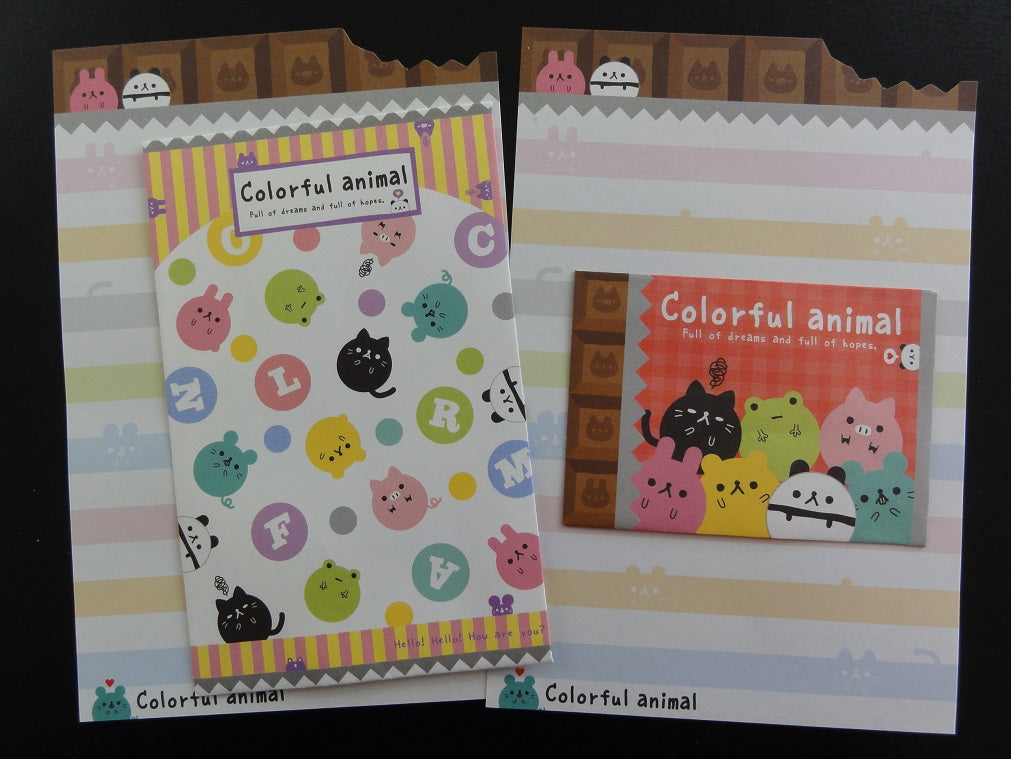 Cute Kawaii Kamio Colorful Animal Mini Letter Sets - Small Writing Note Envelope Set Stationery