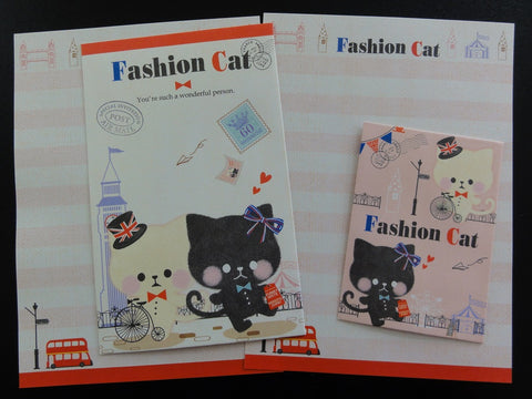 Cute Kawaii Crux Fashion Cat Mini Letter Sets - Small Writing Note Envelope Set Stationery