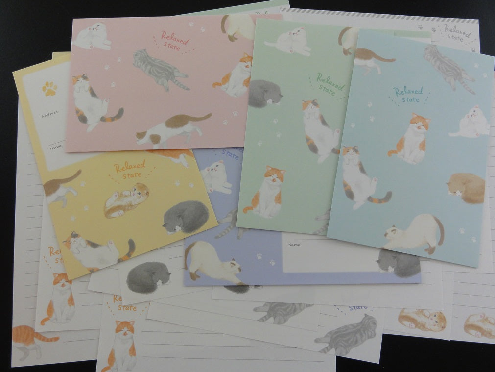 Cute Kawaii Crux Relax Cat Letter Sets - Stationery Writing Paper Envelope Penpal