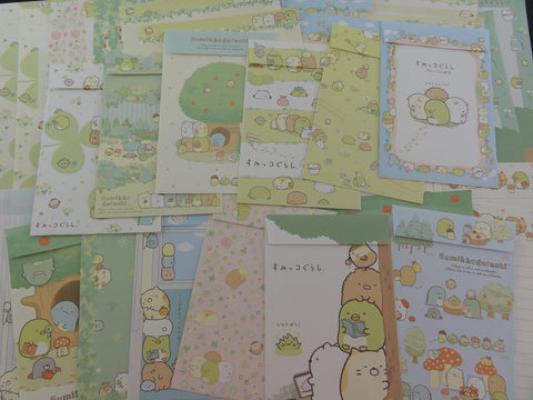 Cute Kawaii San-X Sumikko Gurashi Green Nature Clover theme Letter Writing Paper + Envelope Stationery Theme Set
