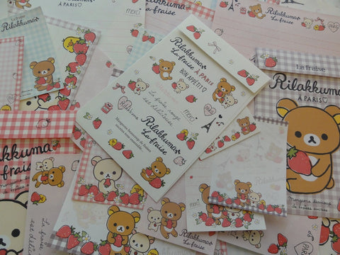 San-X Rilakkuma Bear La Fraise Paris Stationery Set