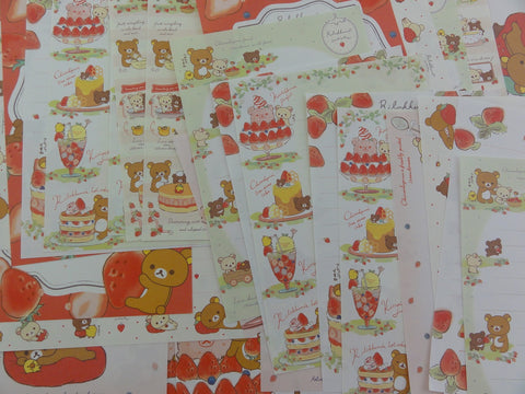 San-X Rilakkuma Bear Strawberry Memo Note Paper Set - for Writing Stationery Scrapbook Art Craft Penpal