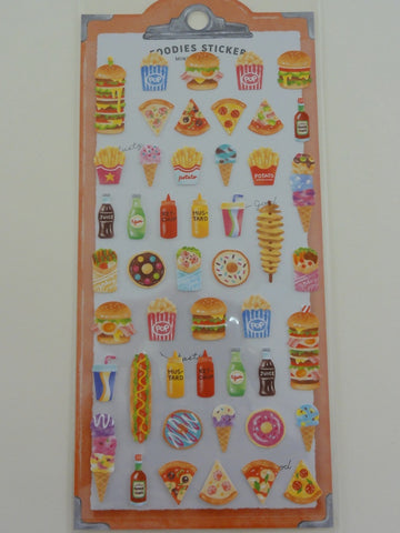 Cute Kawaii Mindwave Foodies Sticker Sheet - A - Popcorn Burger Ice Cream Hotdog Pizza - for Journal Planner Craft