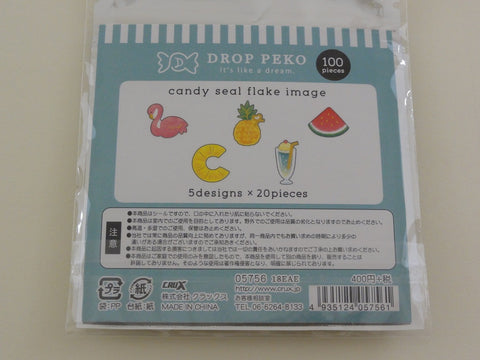 Cute Kawaii Crux Candy Drop Style Flake Stickers Sack - Summer Fruit - for Journal Planner Agenda Craft Scrapbook