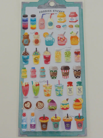 Cute Kawaii Mindwave Foodies Sticker Sheet - B - Drinks Coffee Fruit Juice Milk Frappuccino  - for Journal Planner Craft