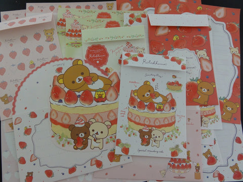 Cute Kawaii San-X Rilakkuma Strawberry Sweet Letter Paper + Envelope Theme Set - writing paper stationery