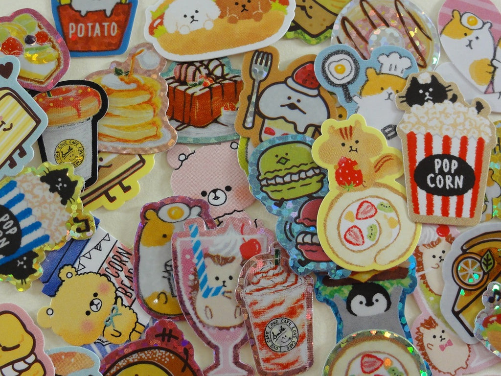 Cute Kawaii Food theme Burger Popcorn Coffee Drink Sweet Bakery Flake Stickers - 40 pcs + Bonus 1 large