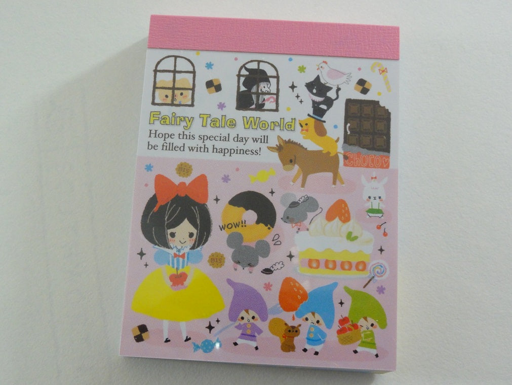 Cute Kawaii Kamio Fairy Tale World Snow White Rapunzel Mini Notepad / Memo Pad - Vintage Rare Collectible - Stationery Design Writing