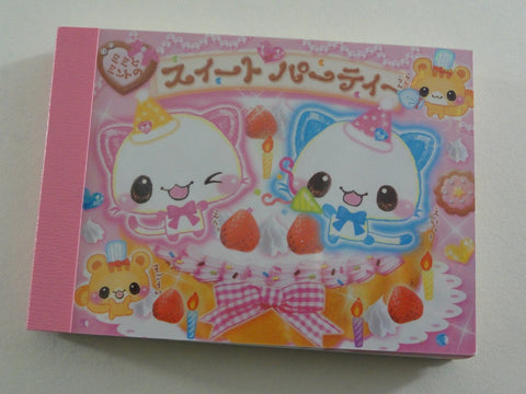 Cute Kawaii Crux Strawberry Cat Mini Notepad / Memo Pad - Vintage Rare Collectible - Stationery Design Writing