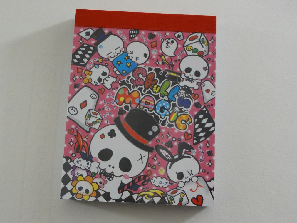 Cute Kawaii Pool Cool Skull Magic Mini Notepad / Memo Pad - Vintage Rare Collectible - Stationery Design Writing