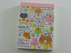 z Cute Kawaii Q-Lia Day Dream Bear Rabbit Cat Mini Notepad / Memo Pad - Vintage Rare Collectible - Stationery Design Writing