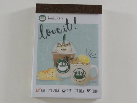 Cute Kawaii Crux Koneko Cafe Cat Love It Mini Notepad / Memo Pad - A - Stationery Design Writing Collection