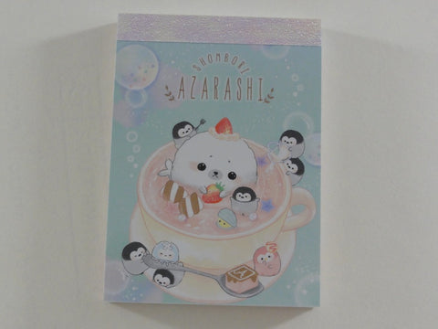 Cute Kawaii Crux Shombori Azarashi Seal Penguin Friends Mini Notepad / Memo Pad - B - Stationery Designer Paper Collection