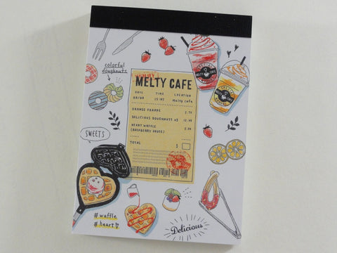 Cute Kawaii Crux Melty Cafe Frappe Strawberry Waffle Mini Notepad / Memo Pad - B - Stationery Design Writing Collection