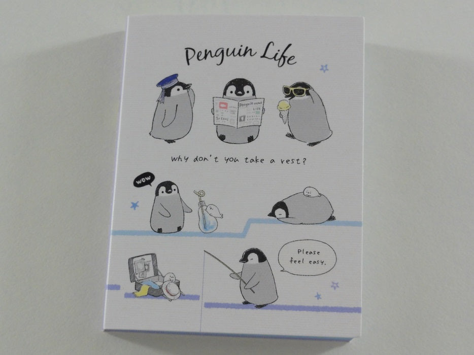 Cute Kawaii Kamio Penguin Relax Time Mini Notepad / Memo Pad - Stationery Designer Paper Collection