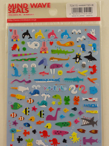 Cute Kawaii Mind Wave Fish Ocean Sea Animals Sticker Sheet - for Journal Planner Craft